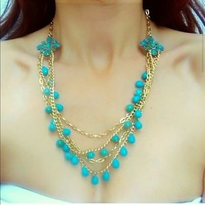 Stunning Turquoise Gold colored necklace